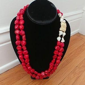 Vintage estate coral & pearl necklace gold magnet